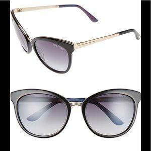 """NWT Tom Ford """"Emma"""" 56mm Retro Sunglasses, black"""